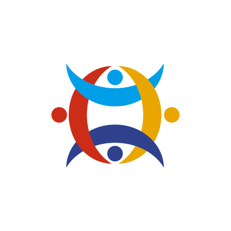 Logo-Design-Vektorvorlage für Gemeinschafts- und Adoptionspflege