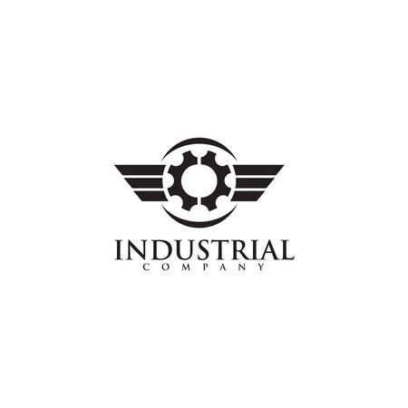 Industrial company logo design with using gear icon vector template