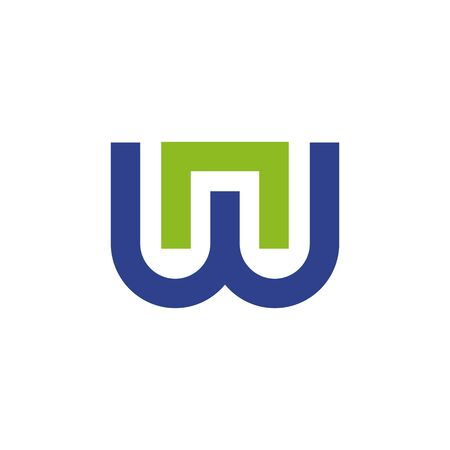 W letter initial design vector template