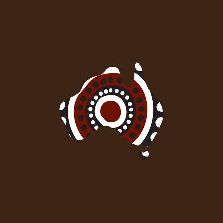 Pintura de puntos de arte aborigen con el uso del contorno del mapa australiano
