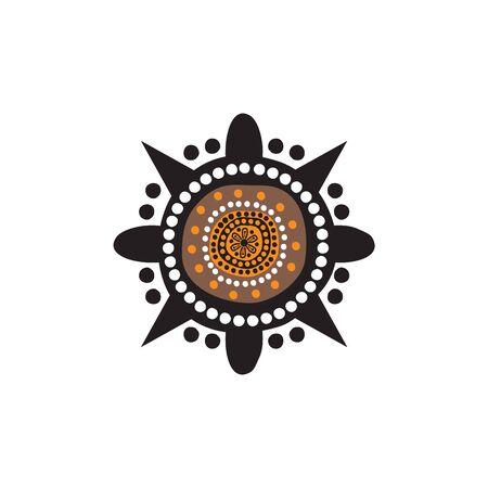 Aboriginal art dots painting logo design template