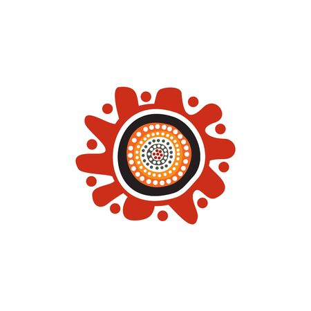 Aboriginal art dots painting design template Vectores