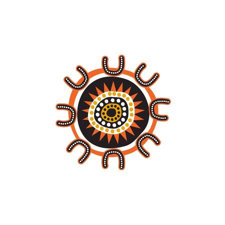 Aboriginal art dots painting design template 일러스트