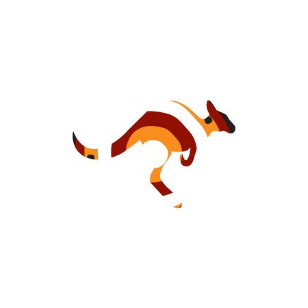 Kangaroo icon with aboriginal art design style vector template