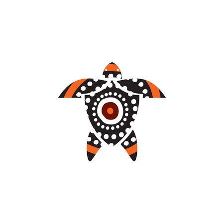 Turtle icon logo design with aboriginal style vector template Иллюстрация