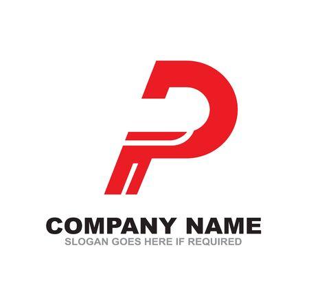P letter initial logo design vecto template