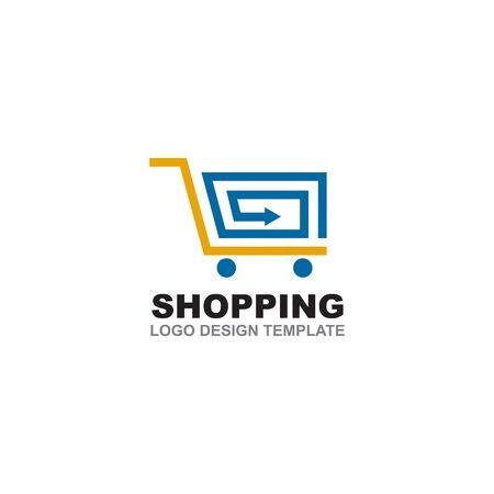 Shopping cart logo design inspiration vector template
