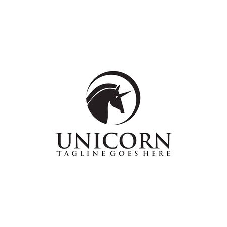 Unicorn logo design inspiraiton vector template 向量圖像