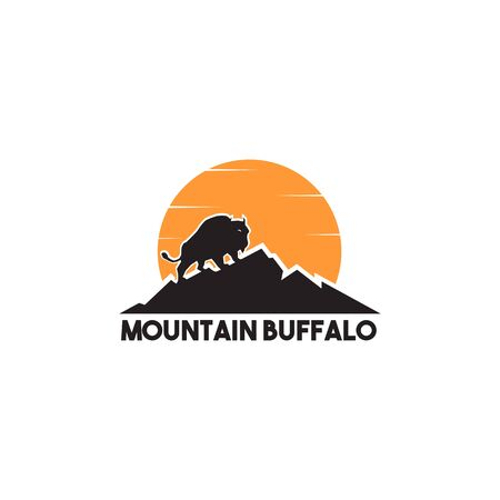 Mountain buffalo icon logo design inspiration vector illustration with isolated background template