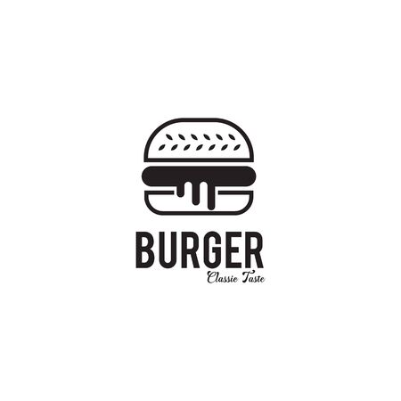 Burger restaurant logo design inspiration vector illustration with isolated background template
