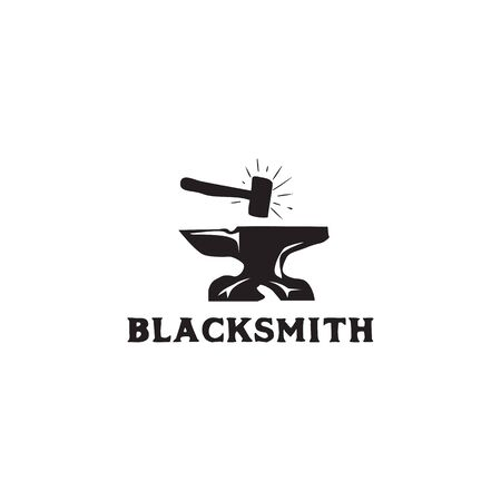 Blacksmith icon logo design inspiration vector illustration with isolated background template