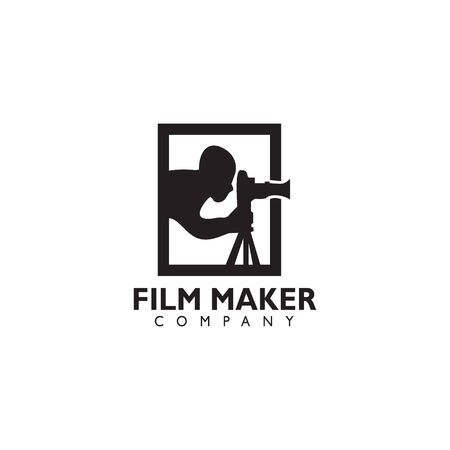 Movie maker company logo design inspiration vector template with isolated background Standard-Bild - 129604235