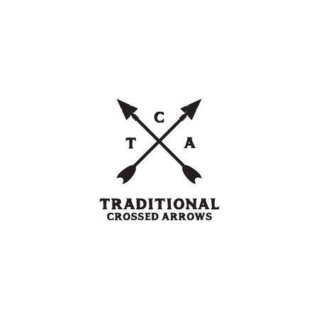 Hunter logo design with crossed arrow icon illustration template