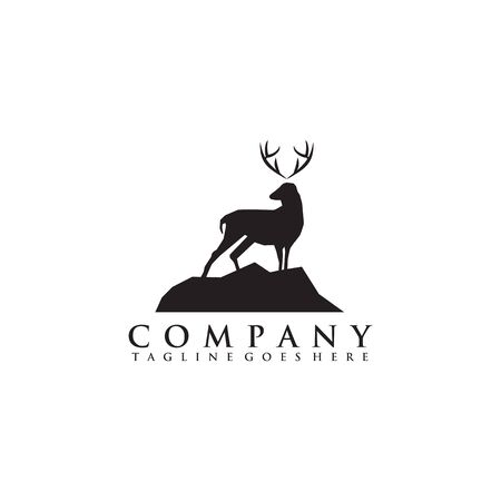 Simple deer logo design inspiration vector icon with isolated background template