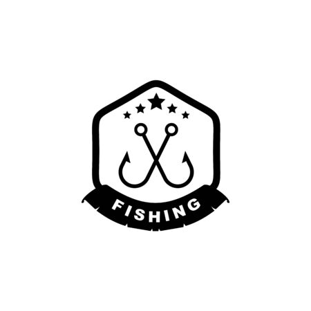 Fishing club logo design vector template illustration