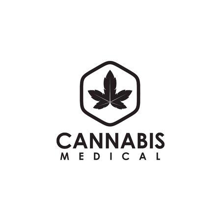 Cannabis hemp medical logo design template illustration
