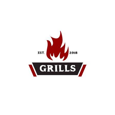 Grills barbeque restaurant logo design inspiration vector template