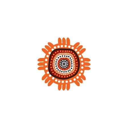 Aboriginal art dots painting icon logo design inspiration vector template Vettoriali