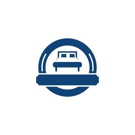 Bed icon logo design vector illustration template
