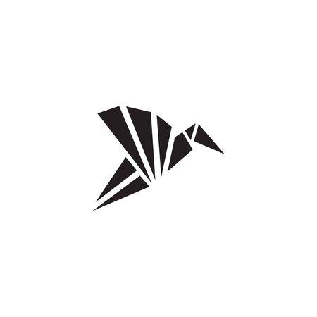 Origami bird icon logo design vecto illustration template