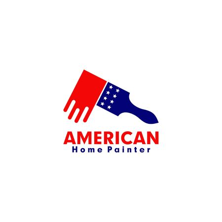 American home painter logo design vector illustration template Ilustrace