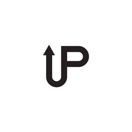 UP typeface lettering icon logo design vector template illustration
