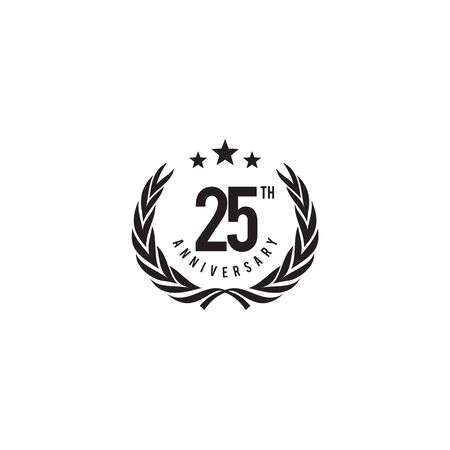 25th year anniversary emblem logo design vector illustration template