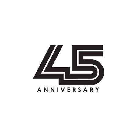 45th year anniversary emblem logo design vector template 일러스트