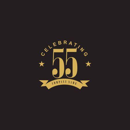 55th celebration anniversary emblem logo design vector template 일러스트