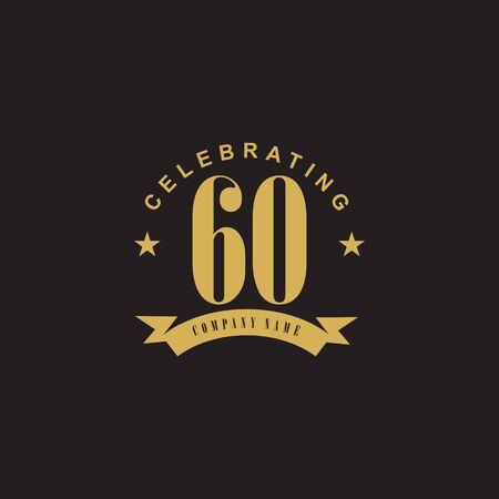 60th year anniversary emblem logo design vector template