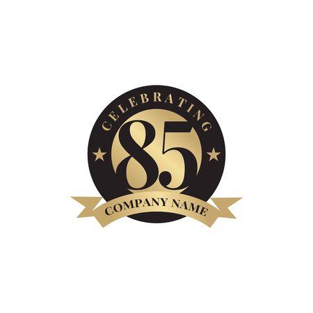85th year celebrating anniversary emblem logo design vector template