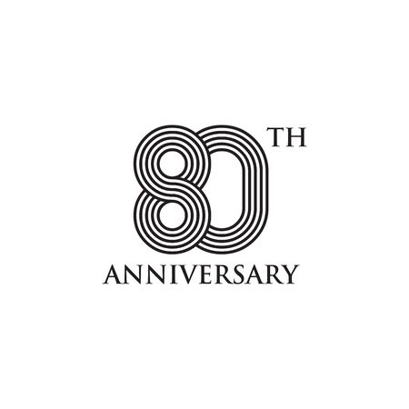 80th year celebrating anniversary emblem logo design vector template Logos