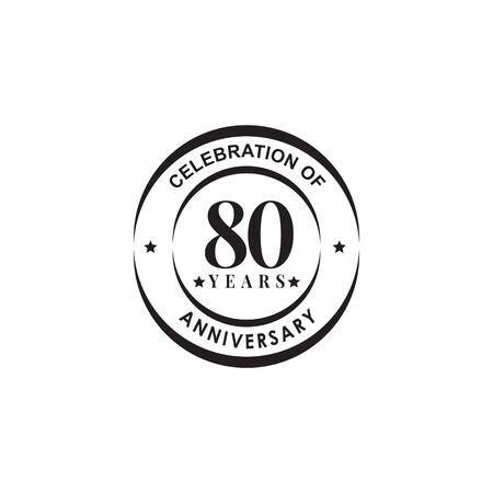 80 años celebrando la plantilla de vector de diseño de logotipo de emblema de aniversario Logos