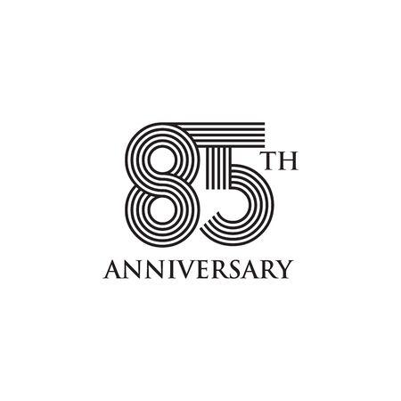 85 aniversario celebrando la plantilla de vector de diseño de logotipo de emblema de aniversario