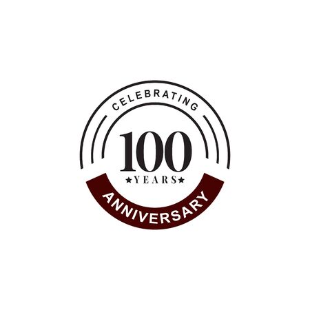 100th year celebrating anniversary emblem logo design vector template  イラスト・ベクター素材