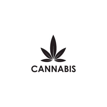 Cannabis hemp leaf logo icon design vector illustration template