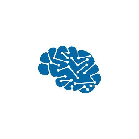 Brain illustration logo design vector template