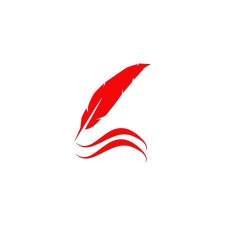 Feather pen icon logo design vector template