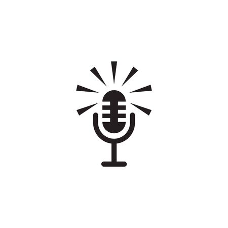 Mic icon logo design vector illustration template