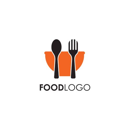Food logo design with using bowl icon illustration template Vettoriali
