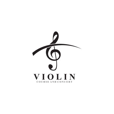 Violin icon logo design inspiration vector template Illusztráció