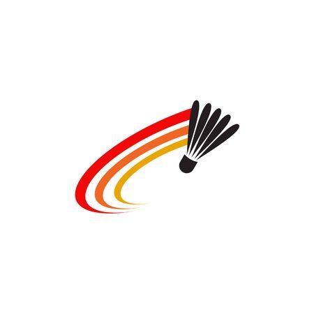 Ispirazione per il design del logo del campionato di badminton con il modello di illustrazione dell'icona del volano