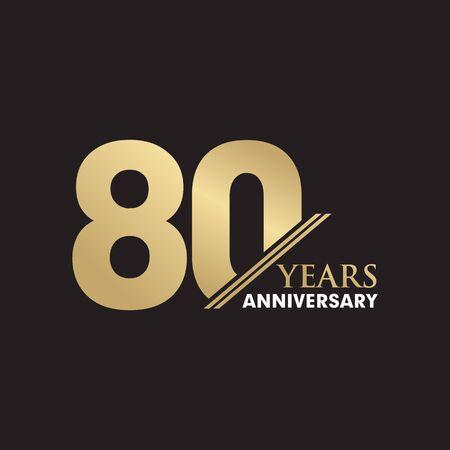 Plantilla de vector de inspiración de diseño de logotipo de emblema de 80 aniversario Logos