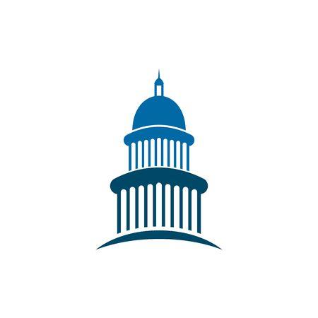 Plantilla de vector de inspiración de diseño de logotipo emblemático del edificio del Capitolio