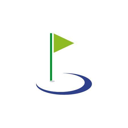Golf sport icon logo design with using flag template illustration Illusztráció