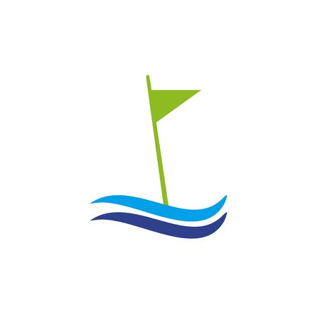 Golf sport icon logo design with using flag template illustration