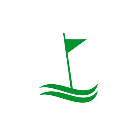 Golf sport icon logo design with using flag template illustration Illustration