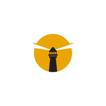 Lighthouse building monitoring icon logo design inspiration vector illustration template