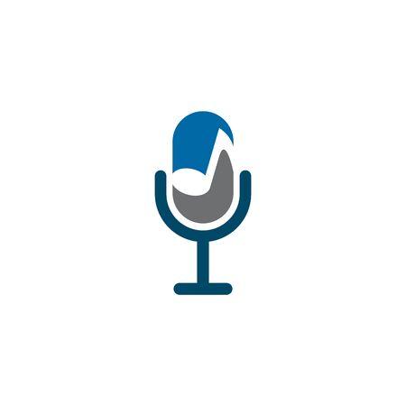 Microphone mic icon logo design inspiration vector illustration template