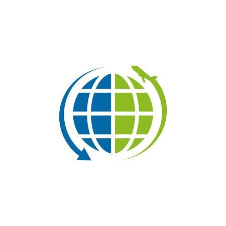 Travel company logo design with plane icon vector illustration template